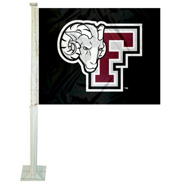 Fordham Rams Logo Car Flag measures 12x15 inches, is constructed of sturdy 2 ply polyester, and has screen printed school logos which are readable and viewable correctly on both sides. Fordham Rams Logo Car Flag is officially licensed by the NCAA and selected university.
