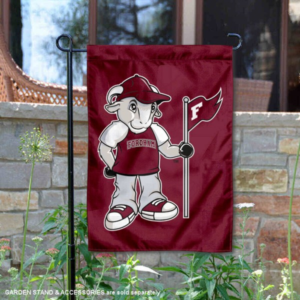 Fordham Rams Rameses Mascot Garden Flag is 13x18 inches in size, is made of 2-layer polyester, screen printed university athletic logos and lettering. Available with Same Day Express Shipping, our Fordham Rams Rameses Mascot Garden Flag is officially licensed and approved by the university and the NCAA.
