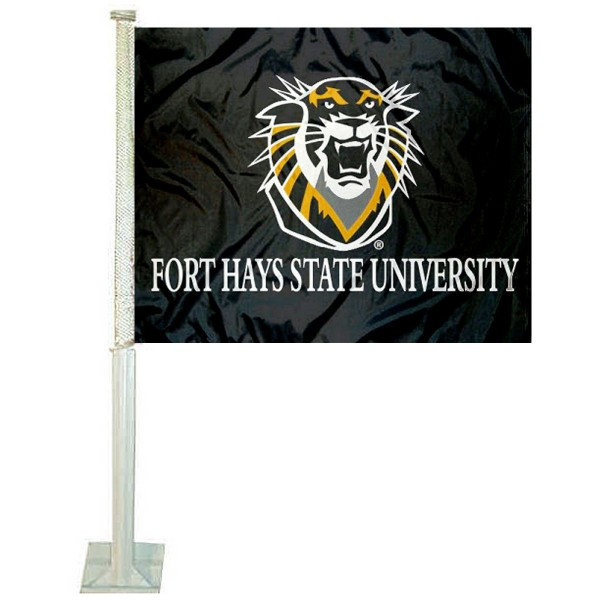 Fort Hays State Tigers Car Window Flag measures 12x15 inches, is constructed of sturdy 2 ply polyester, and has dye sublimated school logos which are readable and viewable correctly on both sides. Fort Hays State Tigers Car Window Flag is officially licensed by the NCAA and selected university.