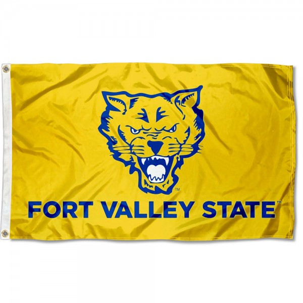 Fort Valley State Wildcats Flag measures 3x5 feet, is made of 100% polyester, offers quadruple stitched flyends, has two metal grommets, and offers screen printed NCAA team logos and insignias. Our Fort Valley State Wildcats Flag is officially licensed by the selected university and NCAA.
