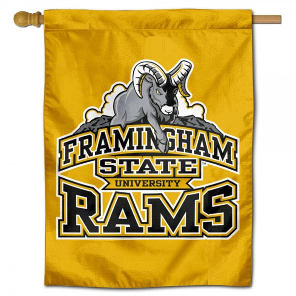 Framingham State Rams Double Sided House Flag is a vertical house flag which measures 30x40 inches, is made of 2 ply 100% polyester, offers screen printed NCAA team insignias, and has a top pole sleeve to hang vertically. Our Framingham State Rams Double Sided House Flag is officially licensed by the selected university and the NCAA.