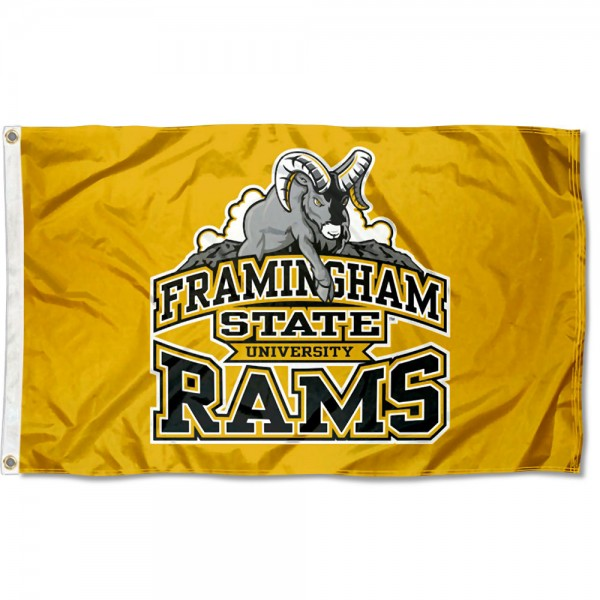 Framingham State Rams Flag measures 3x5 feet, is made of 100% polyester, offers quadruple stitched flyends, has two metal grommets, and offers screen printed NCAA team logos and insignias. Our Framingham State Rams Flag is officially licensed by the selected university and NCAA.