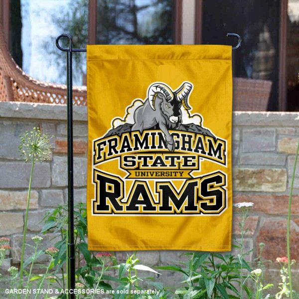 Framingham State Rams Garden Flag is 13x18 inches in size, is made of 2-layer polyester, screen printed university athletic logos and lettering, and is readable and viewable correctly on both sides. Available same day shipping, our Framingham State Rams Garden Flag is officially licensed and approved by the university and the NCAA.