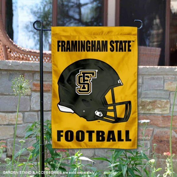 Framingham State Rams Helmet Yard Garden Flag is 13x18 inches in size, is made of 2-layer polyester with Liner, screen printed university athletic logos and lettering, and is readable and viewable correctly on both sides. Available same day shipping, our Framingham State Rams Helmet Yard Garden Flag is officially licensed and approved by the university and the NCAA.