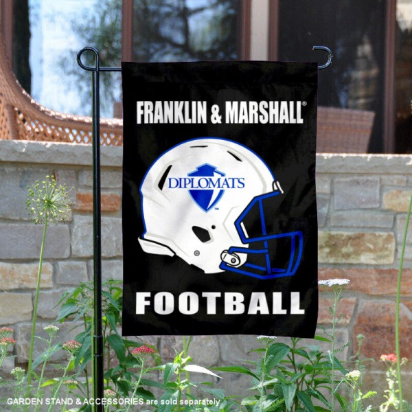 Franklin & Marshall College Football Helmet Garden Banner is 13x18 inches in size, is made of 2-layer polyester, screen printed Franklin & Marshall College athletic logos and lettering. Available with Same Day Express Shipping, Our Franklin & Marshall College Football Helmet Garden Banner is officially licensed and approved by Franklin & Marshall College and the NCAA.