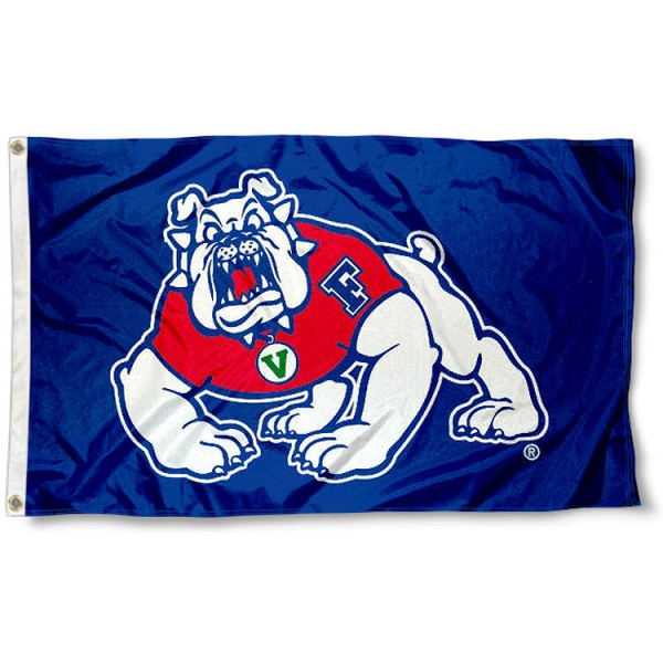 Fresno State Bulldogs Blue Logo Flag measures 3'x5', is made of 100% poly, has quadruple stitched sewing, two metal grommets, and has double sided Team University logos. Our Fresno State 3x5 Flag is officially licensed by the selected university and the NCAA.