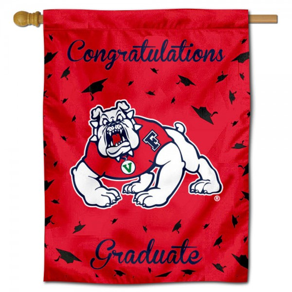 Fresno State Bulldogs Congratulations Graduate Flag measures 30x40 inches, is made of poly, has a top hanging sleeve, and offers dye sublimated Fresno State Bulldogs logos. This Decorative Fresno State Bulldogs Congratulations Graduate House Flag is officially licensed by the NCAA.