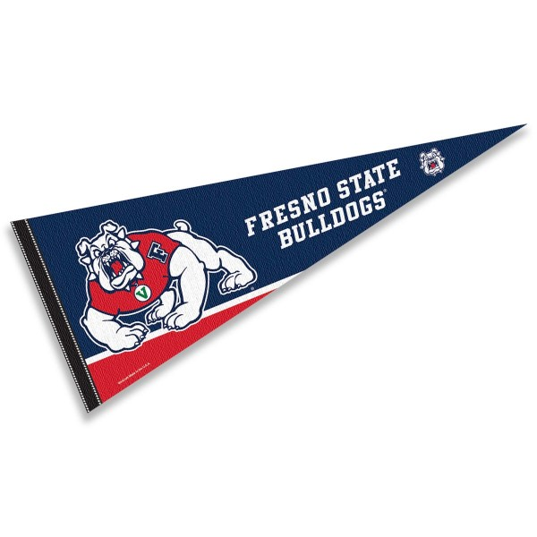 Fresno State Bulldogs Decorations consists of our full size pennant which measures 12x30 inches, is constructed of felt, is single sided imprinted, and offers a pennant sleeve for insertion of a pennant stick, if desired. This Fresno State Bulldogs Decorations is officially licensed by the selected university and the NCAA