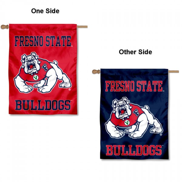 Fresno State Bulldogs Double Sided House Flag is a vertical house flag which measures 30x40 inches, is made of 2 ply 100% polyester, offers screen printed NCAA team insignias, and has a top pole sleeve to hang vertically. Our Fresno State Bulldogs Double Sided House Flag is officially licensed by the selected university and the NCAA.