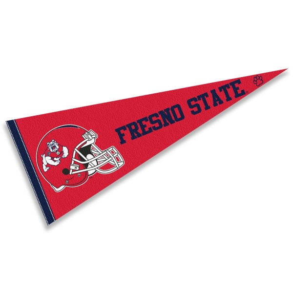 Fresno State Bulldogs Helmet Pennant consists of our full size sports pennant which measures 12x30 inches, is constructed of felt, is single sided imprinted, and offers a pennant sleeve for insertion of a pennant stick, if desired. This Fresno State Bulldogs Pennant Decorations is Officially Licensed by the selected university and the NCAA.