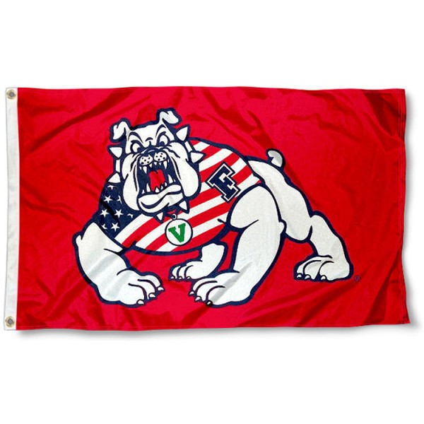 Fresno State Bulldogs Patriotic Flag measures 3'x5', is made of 100% poly, has quadruple stitched sewing, two metal grommets, and has double sided Team University logos. Our FSU Bulldogs USA Flag Waving is officially licensed by the selected university and the NCAA.