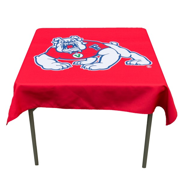 Fresno State Bulldogs Table Cloth measures 48 x 48 inches, is made of 100% Polyester, seamless one-piece construction, and is perfect for any tailgating table, card table, or wedding table overlay. Each includes Officially Licensed Logos and Insignias.