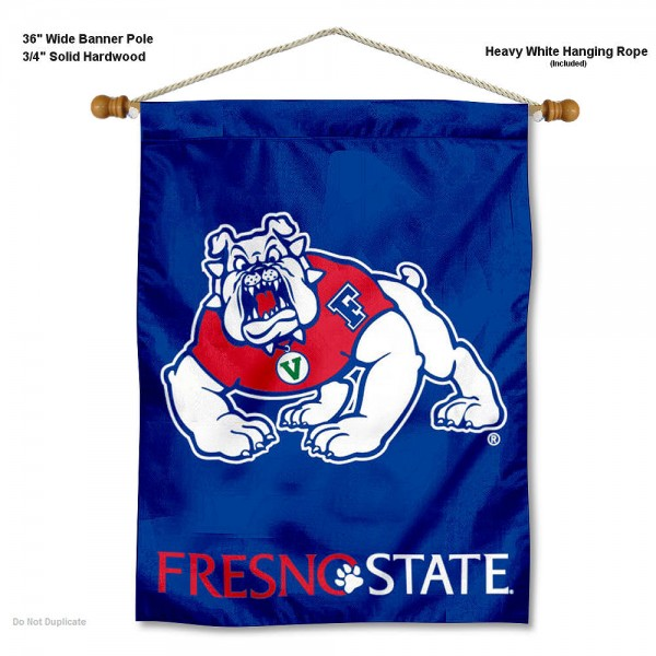"Fresno State Bulldogs Wall Banner is constructed of polyester material, measures a large 30""x40"", offers screen printed athletic logos, and includes a sturdy 3/4"" diameter and 36"" wide banner pole and hanging cord. Our Fresno State Bulldogs Wall Banner is Officially Licensed by the selected college and NCAA."