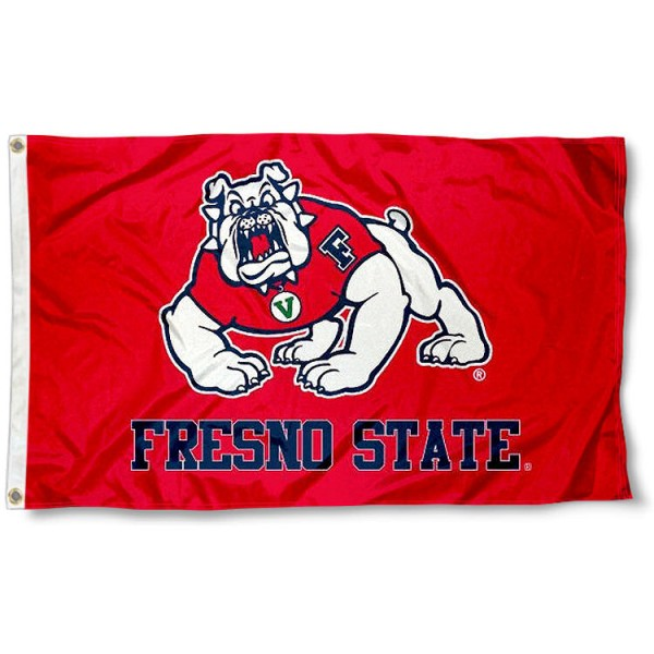 Fresno State FSU Bulldogs 3x5 Flag measures 3'x5', is made of 100% poly, has quadruple stitched sewing, two metal grommets, and has double sided Team University logos. Our Fresno State University 3x5 Flag is officially licensed by the selected university and the NCAA.