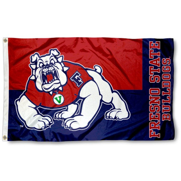 This Fresno State Nylon Flag measures 3'x5', is made of 100% nylon, has quad-stitched sewn flyends, and has two-sided Fresno State printed logos. Our Fresno State Nylon Flag is officially licensed and all flags for Fresno State are approved by the NCAA and Same Day UPS Express Shipping is available.