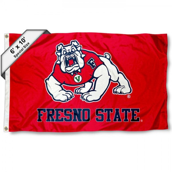 Fresno State University 6'x10' Flag measures 6x10 feet, is made of thick poly, has quadruple-stitched fly ends, and FSU Bulldogs logos are screen printed into the FSU Bulldogs 6'x10' Flag. This 6'x10' Flag is officially licensed by and the NCAA.