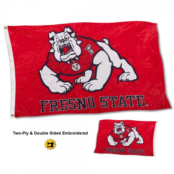 Fresno State University Flag measures 3'x5' in size, is made of 2 layer 100% nylon, has quadruple stitched fly ends for durability, and is viewable and readable correctly on both sides. Our Fresno State University Flag is officially licensed by the university, school, and the NCAA