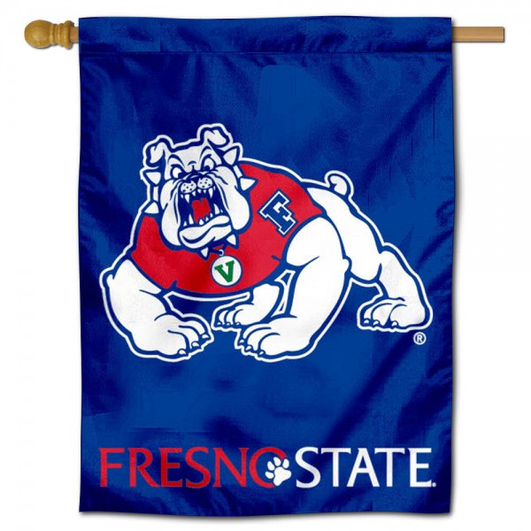 """Fresno State University House Flag is constructed of polyester material, is a vertical house flag, measures 30""""x40"""", offers screen printed athletic insignias, and has a top pole sleeve to hang vertically. Our Fresno State University House Flag is Officially Licensed by Fresno State University and NCAA."""