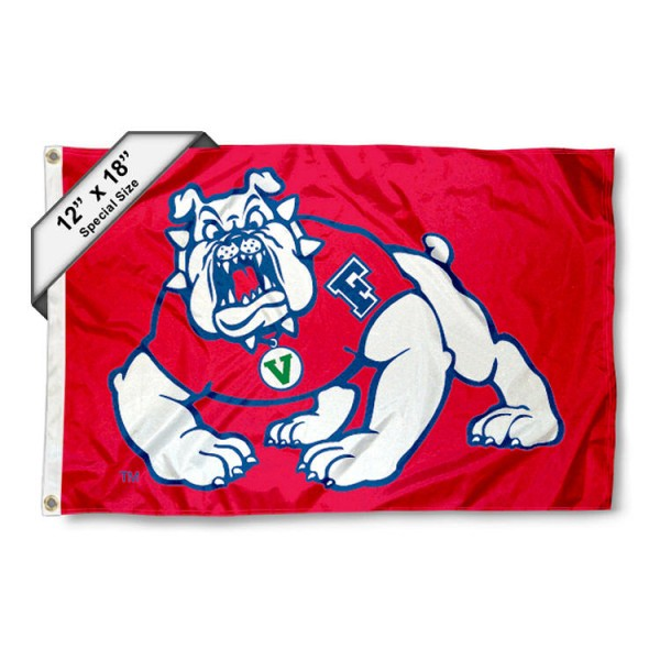 Fresno State University Nautical Flag measures 12x18 inches, is made of two-ply nylon, offers double stitched flyends for durability, has two metal grommets, and is viewable from both sides. Our Fresno State University Nautical Flag is officially licensed by the selected university and the NCAA and can be used as a motorcycle flag, golf cart flag, or ATV flag