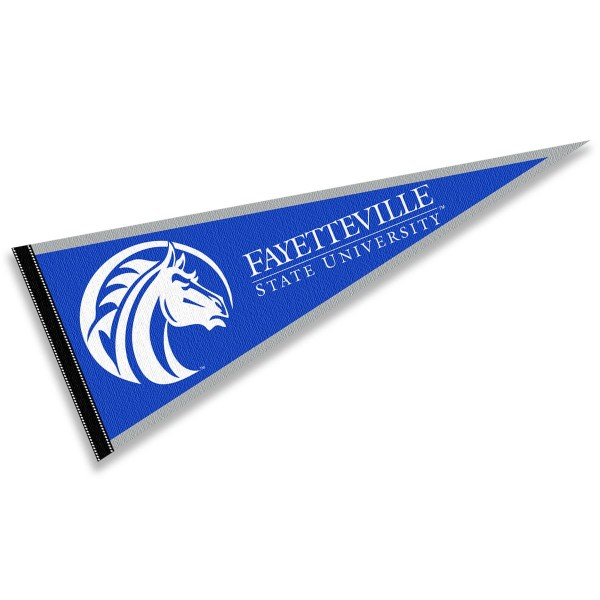 FSU Broncos Pennant consists of our full size sports pennant which measures 12x30 inches, is constructed of felt, is single sided imprinted, and offers a pennant sleeve for insertion of a pennant stick, if desired. This FSU Broncos Pennant Decorations is Officially Licensed by the selected university and the NCAA.