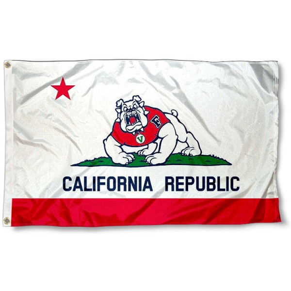 FSU Bulldogs California State Flag measures 3'x5', is made of 100% poly, has quadruple stitched sewing, two metal grommets, and has double sided Team University logos. Our FSU Bulldogs 3x5 Flag is officially licensed by the selected university and the NCAA.