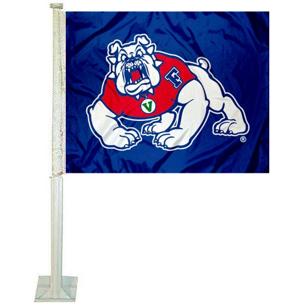 FSU Bulldogs Car Window Flag measures 12x15 inches, is constructed of sturdy 2 ply polyester, and has screen printed school logos which are readable and viewable correctly on both sides. FSU Bulldogs Car Window Flag is officially licensed by the NCAA and selected university.