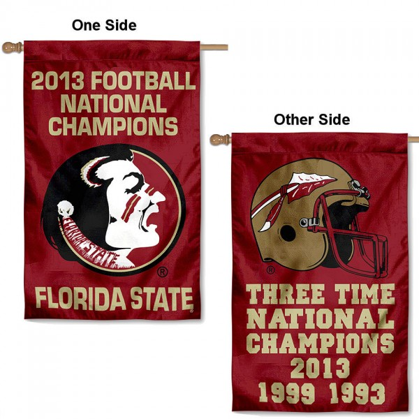 FSU Seminoles 3-Time Football Champs Banner is double-sided, 30x48 inches, made of 2 ply poly, has a top sleeve for insertion of a flagpole or banner pole, and the Championship logos are screen printed into the FSU Seminoles 3-Time Football Champs Banner. The FSU Seminoles 3-Time Football Champs Banner is officially licensed by the NCAA and university.