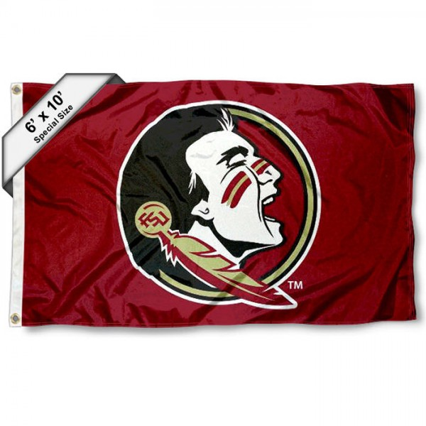 FSU Seminoles 6'x10' Flag measures 6x10 feet, is made of thick poly, has quadruple-stitched fly ends, and FSU Seminoles logos are screen printed into the FSU Seminoles 6'x10' Flag. This FSU Seminoles 6'x10' Flag is officially licensed by and the NCAA.