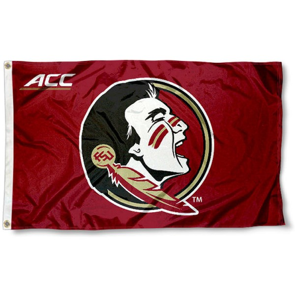 FSU Seminoles ACC Logo Flag measures 3x5 feet, is made of 100% polyester, offers quadruple stitched flyends, has two metal grommets, and offers screen printed NCAA team logos and insignias. Our FSU Seminoles ACC Logo Flag is officially licensed by the selected university and NCAA.