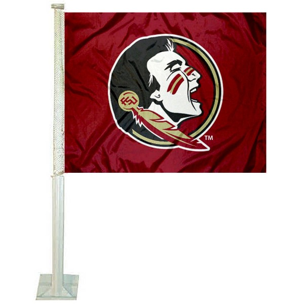 FSU Seminoles Car Window Flag measures 12x15 inches, is constructed of sturdy 2 ply polyester, and has screen printed school logos which are readable and viewable correctly on both sides. FSU Seminoles Car Window Flag is officially licensed by the NCAA and selected university.
