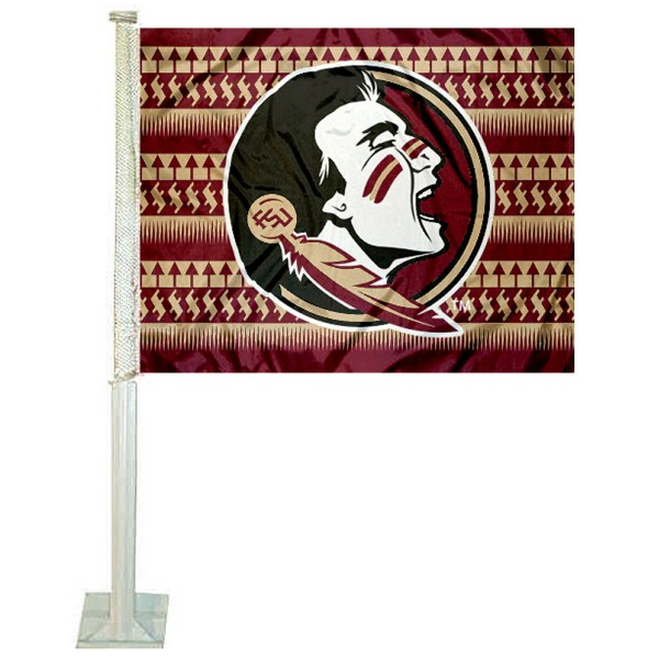 FSU Seminoles Chevron Car Window Flag measures 12x15 inches, is constructed of sturdy 2 ply polyester, and has screen printed school logos which are readable and viewable correctly on both sides. FSU Seminoles Chevron Car Window Flag is officially licensed by the NCAA and selected university.