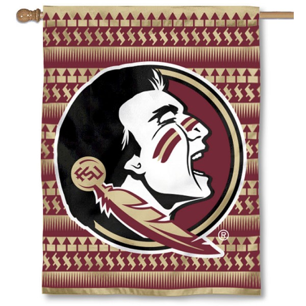 FSU Seminoles Chevron Double Sided House Flag is a vertical house flag which measures 30x40 inches, is made of 2 ply 100% polyester, offers screen printed NCAA team insignias, and has a top pole sleeve to hang vertically. Our FSU Seminoles Chevron Double Sided House Flag is officially licensed by the selected university and the NCAA.