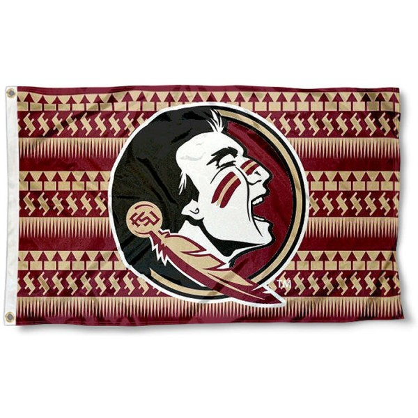 FSU Seminoles Chevron Logo Flag measures 3'x5', is made of 100% poly, has quadruple stitched sewing, two metal grommets, and has double sided Team University logos. Our FSU Seminoles 3x5 Flag is officially licensed by the selected university and the NCAA.