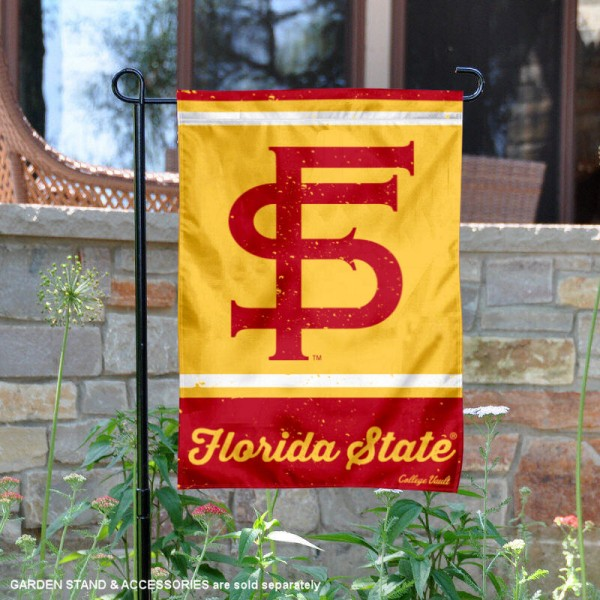 FSU Seminoles College Vault Logo Garden Flag is 12.5x18 inches in size, is made of 2-layer polyester, screen printed university athletic logos and lettering, and is readable and viewable correctly on both sides. Available same day shipping, our FSU Seminoles College Vault Logo Garden Flag is officially licensed and approved by the university and the NCAA.