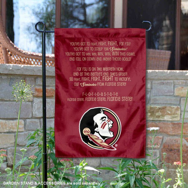 FSU Seminoles Fight Song Garden Flag is 13x18 inches in size, is made of thick blockout polyester, screen printed university athletic logos and lettering, and is readable and viewable correctly on both sides. Available same day shipping, our FSU Seminoles Fight Song Garden Flag is officially licensed and approved by the university and the NCAA.