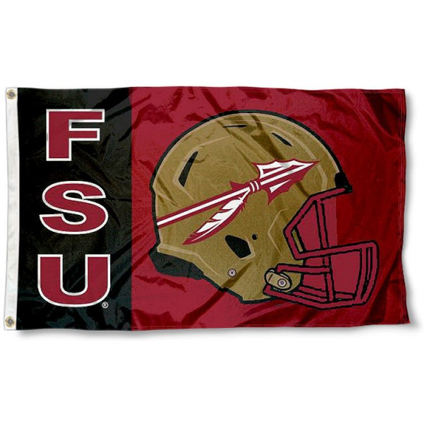 FSU Seminoles Football Flag measures 3'x5', is made of 100% poly, has quadruple stitched sewing, two metal grommets, and has double sided FSU Seminoles logos. Our FSU Seminoles Football Flag is officially licensed by the selected university and the NCAA.