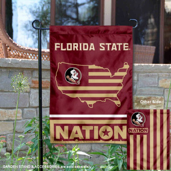 FSU Seminoles Garden Flag with USA Country Stars and Stripes is 13x18 inches in size, is made of 2-layer polyester, screen printed logos and lettering. Available with Same Day Express Shipping, Our Nation Yard Flag is officially licensed and approved by the NCAA.