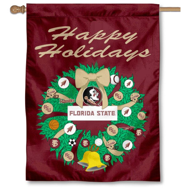 FSU Seminoles Happy Holidays Banner Flag measures 30x40 inches, is made of poly, has a top hanging sleeve, and offers dye sublimated FSU Seminoles logos. This Decorative FSU Seminoles Happy Holidays Banner Flag is officially licensed by the NCAA.