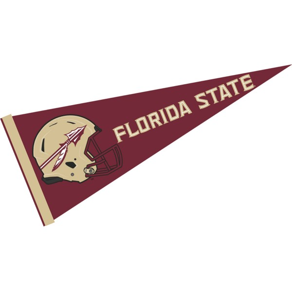 FSU Seminoles Helmet Pennant consists of our full size sports pennant which measures 12x30 inches, is constructed of felt, is single sided imprinted, and offers a pennant sleeve for insertion of a pennant stick, if desired. This FSU Seminoles Pennant Decorations is Officially Licensed by the selected university and the NCAA.