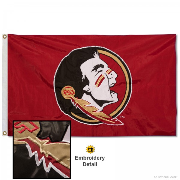 FSU Seminoles Nylon Embroidered Flag measures 3'x5', is made of 100% nylon, has quadruple flyends, two metal grommets, and has double sided appliqued and embroidered University logos. These FSU Seminoles 3x5 Flags are officially licensed by the selected university and the NCAA.