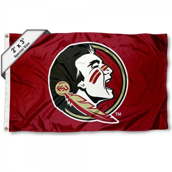 FSU Seminoles Small 2'x3' Flag measures 2x3 feet, is made of 100% polyester, offers quadruple stitched flyends, has two brass grommets, and offers printed FSU Seminoles logos, letters, and insignias. Our 2x3 foot flag is Officially Licensed by the selected university.