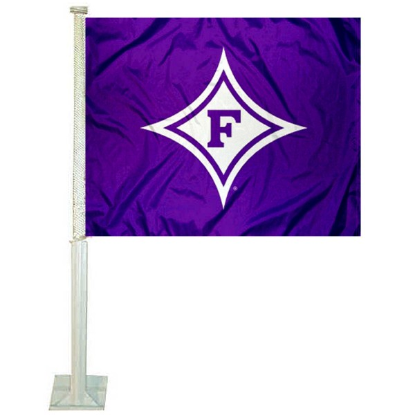 Furman Paladins Car Window Flag measures 12x15 inches, is constructed of sturdy 2 ply polyester, and has dye sublimated school logos which are readable and viewable correctly on both sides. Furman Paladins Car Window Flag is officially licensed by the NCAA and selected university.
