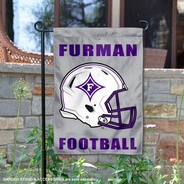 Furman Paladins Helmet Yard Garden Flag is 13x18 inches in size, is made of 2-layer polyester with Liner, screen printed university athletic logos and lettering, and is readable and viewable correctly on both sides. Available same day shipping, our Furman Paladins Helmet Yard Garden Flag is officially licensed and approved by the university and the NCAA.