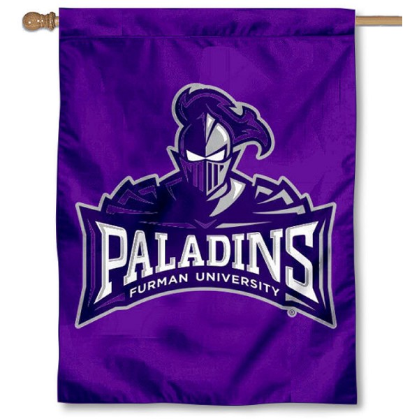 Furman Paladins Logo House Flag is a vertical house flag which measures 30x40 inches, is made of 2 ply 100% polyester, offers screen printed NCAA team insignias, and has a top pole sleeve to hang vertically. Our Furman Paladins Logo House Flag is officially licensed by the selected university and the NCAA.