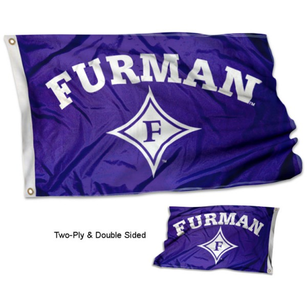 Furman University Flag measures 3'x5' in size, is made of 2 layer 100% polyester, has quadruple stitched fly ends for durability, and is viewable and readable correctly on both sides. Our Furman University Flag is officially licensed by the university, school, and the NCAA