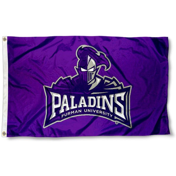 Furman University Flag measures 3'x5', is made of 100% poly, has quadruple stitched sewing, two metal grommets, and has double sided Paladins logos. Our Furman University Flag is officially licensed by Paladins and the NCAA.