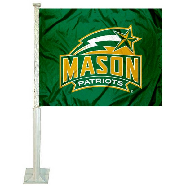 George Mason University Car Window Flag measures 12x15 inches, is constructed of sturdy 2 ply polyester, and has dye sublimated school logos which are readable and viewable correctly on both sides. George Mason University Car Window Flag is officially licensed by the NCAA and selected university.