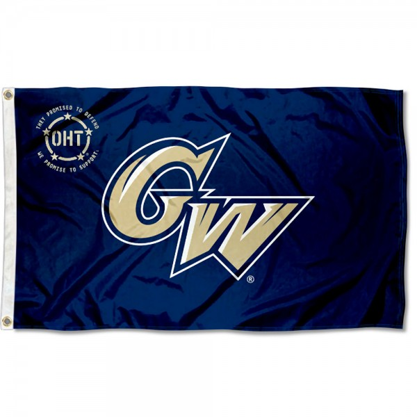 George Washington Colonials Operation Hat Trick Flag measures 3x5 feet, is made of 100% polyester, offers quadruple stitched flyends, has two metal grommets, and offers screen printed NCAA team logos and insignias. Our George Washington Colonials Operation Hat Trick Flag is officially licensed by the selected university and NCAA.