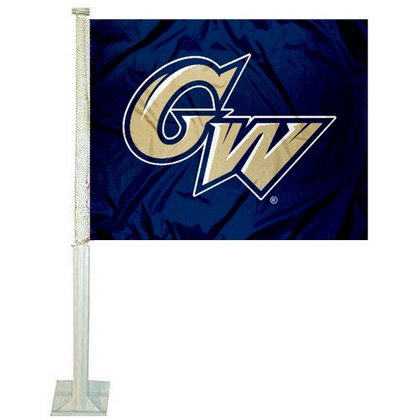 George Washington University Car Window Flag measures 12x15 inches, is constructed of sturdy 2 ply polyester, and has dye sublimated school logos which are readable and viewable correctly on both sides. George Washington University Car Window Flag is officially licensed by the NCAA and selected university.