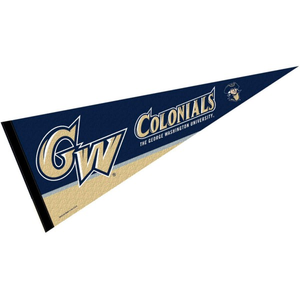 George Washington University Decorations consists of our full size pennant which measures 12x30 inches, is constructed of felt, single sided imprinted, and offers a pennant sleeve for insertion of a pennant stick, if desired. These George Washington University Decorations are Officially Licensed by the selected University and the NCAA.